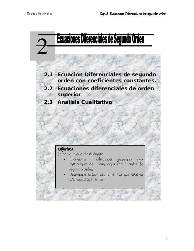 Moisés Villena Muñoz Cap. 2 Ecuaciones Diferenciales de segundo orden2.1Objetivos.Se persigue que el estudiante:• Encuentr...