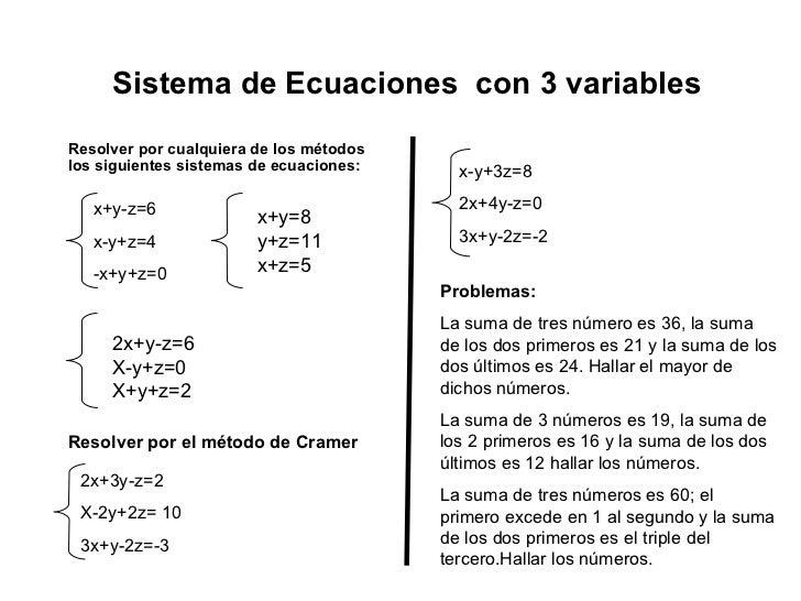 Sistema de Ecuaciones  con 3 variables Resolver por cualquiera de los métodos los siguientes sistemas de ecuaciones: x+y-z...
