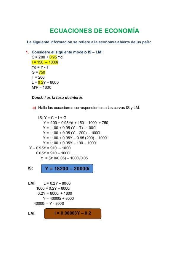 Ecuaciones de economía