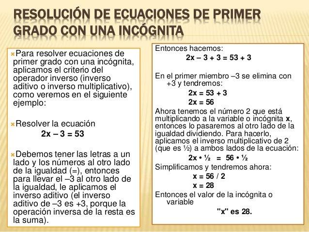 Matemática CUARTO: Solución de ECUACIONES DE PRIMER GRADO CON UNA ...