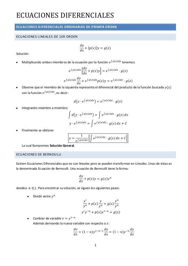 ECUACIONES DIFERENCIALESECUACIONES DIFERENCIALES ORDINARIAS DE PRIMER ORDENECUACIONES LINEALES DE 1ER ORDENSolución:   Mul...