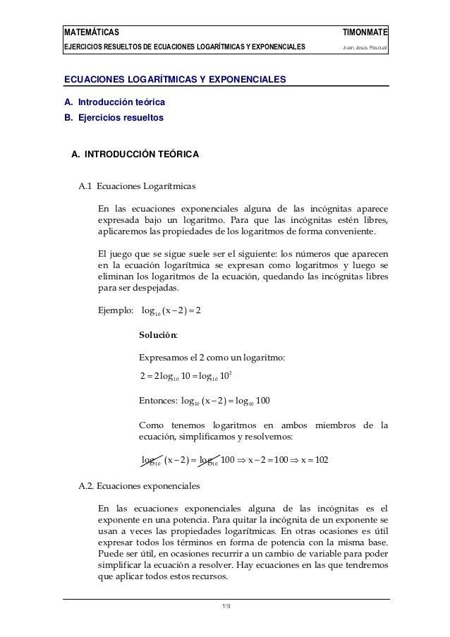 MATEMÁTICAS                                                                 TIMONMATEEJERCICIOS RESUELTOS DE ECUACIONES LO...