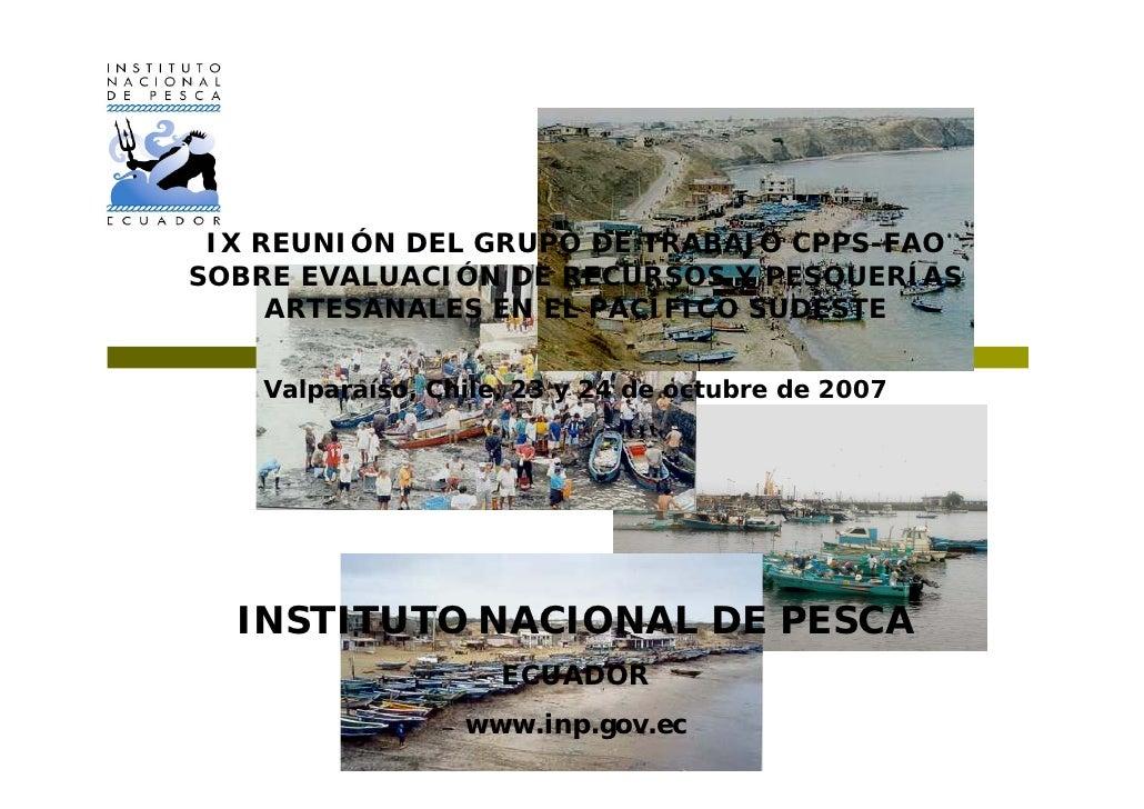 IX REUNIÓN DEL GRUPO DE TRABAJO CPPS-FAO SOBRE EVALUACIÓN DE RECURSOS Y PESQUERÍAS      ARTESANALES EN EL PACÍFICO SUDESTE...