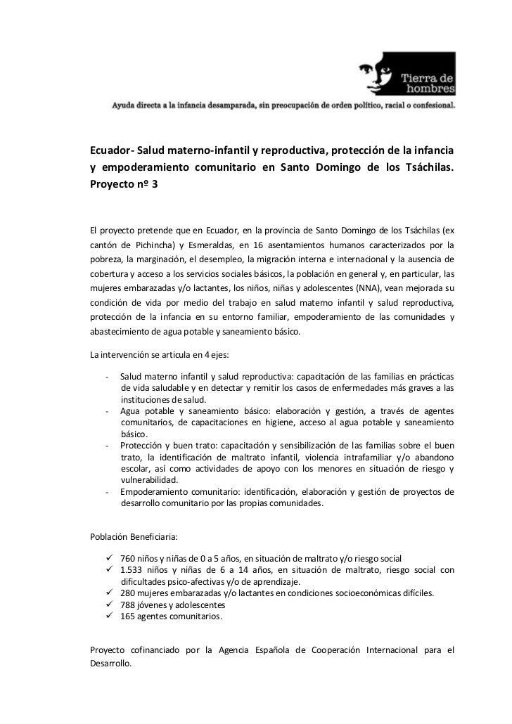 Ecuador- Salud materno-infantil y reproductiva, protección de la infanciay empoderamiento comunitario en Santo Domingo de ...