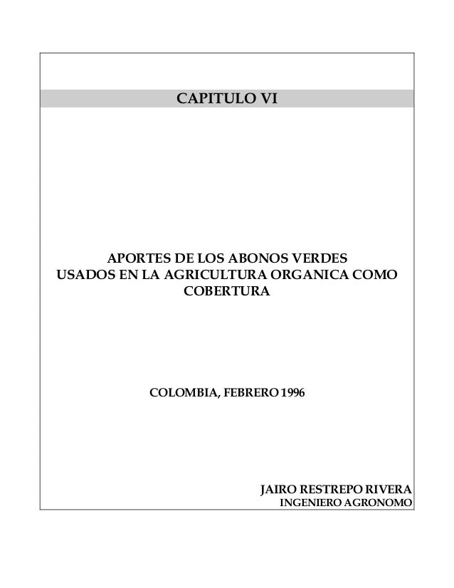 Aportes de Los Abonos Verdes para Cobertura - Jairo Restrepo Rivera