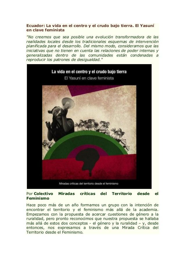 Ecuador: La vida en el centro y el crudo bajo tierra. El Yasuní en clave feminista
