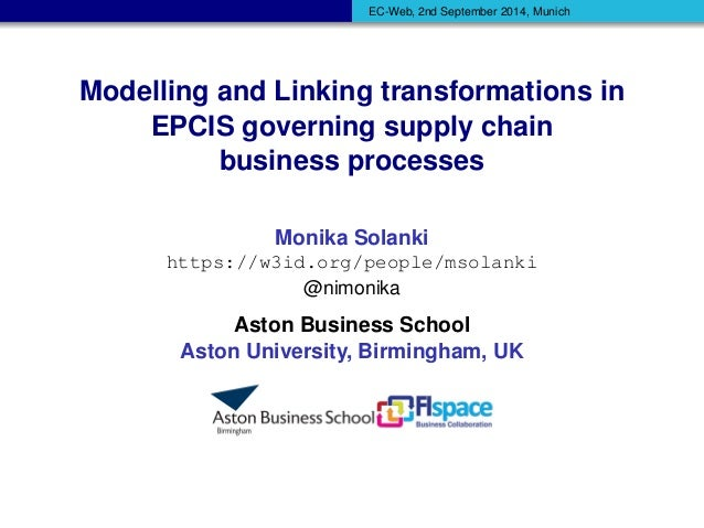 EC-Web, 2nd September 2014, Munich  Modelling and Linking transformations in  EPCIS governing supply chain  business proce...