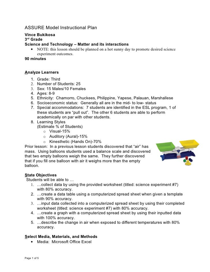 ASSURE Model Instructional Plan Vince Bukikosa 3rd Grade Science and Technology – Matter and its interactions     • NOTE: ...