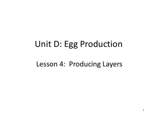 Unit D: Egg Production Lesson 4: Producing Layers 1 1