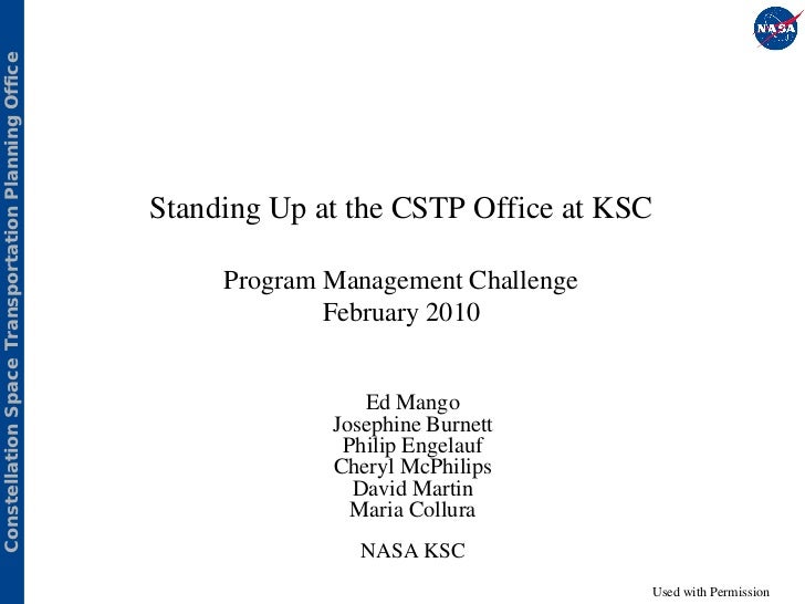 Constellation Space Transportation Planning Office                                                     Standing Up at the ...