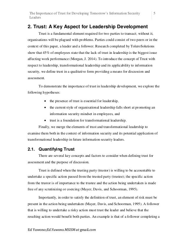 the importance of trust in leadership essay On the importance of trust in business by david austin may 20  and jane employee doesn't trust her company's leadership trust is one of the fundamental tenets on which today's .