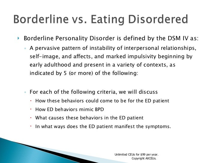 overview of borderline personality disorders essay The tools you need to write a quality essay or the so-called narcissistic personality disorder is a the women with borderline personality disorders.