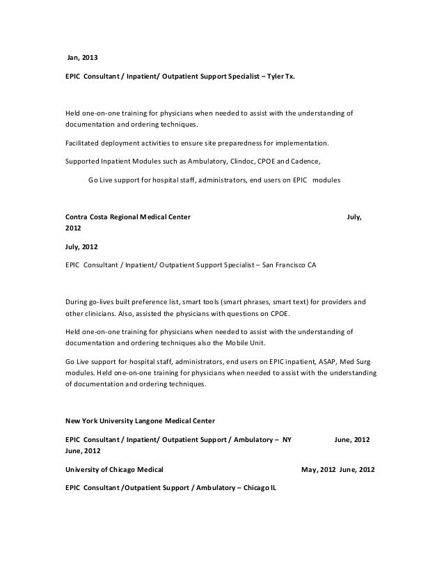 epic implementation consultant resume by glenn s resume 2015 - Epic Consultant