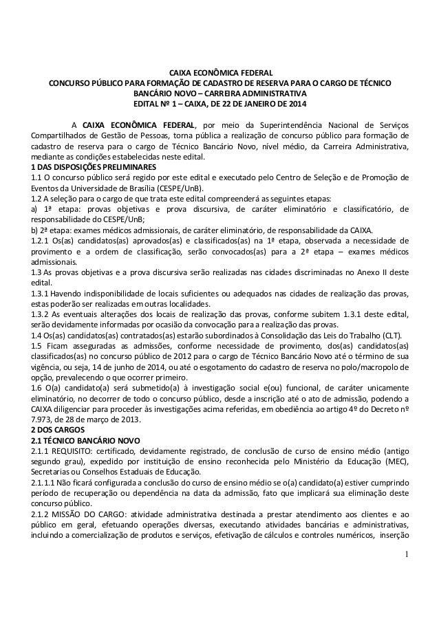 CAIXA ECONÔMICA FEDERAL CONCURSO PÚBLICO PARA FORMAÇÃO DE CADASTRO DE RESERVA PARA O CARGO DE TÉCNICO BANCÁRIO NOVO – CARR...