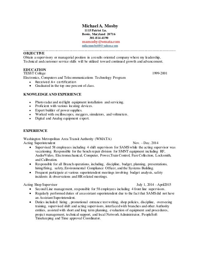mike s resume up to date through 7 27 2015