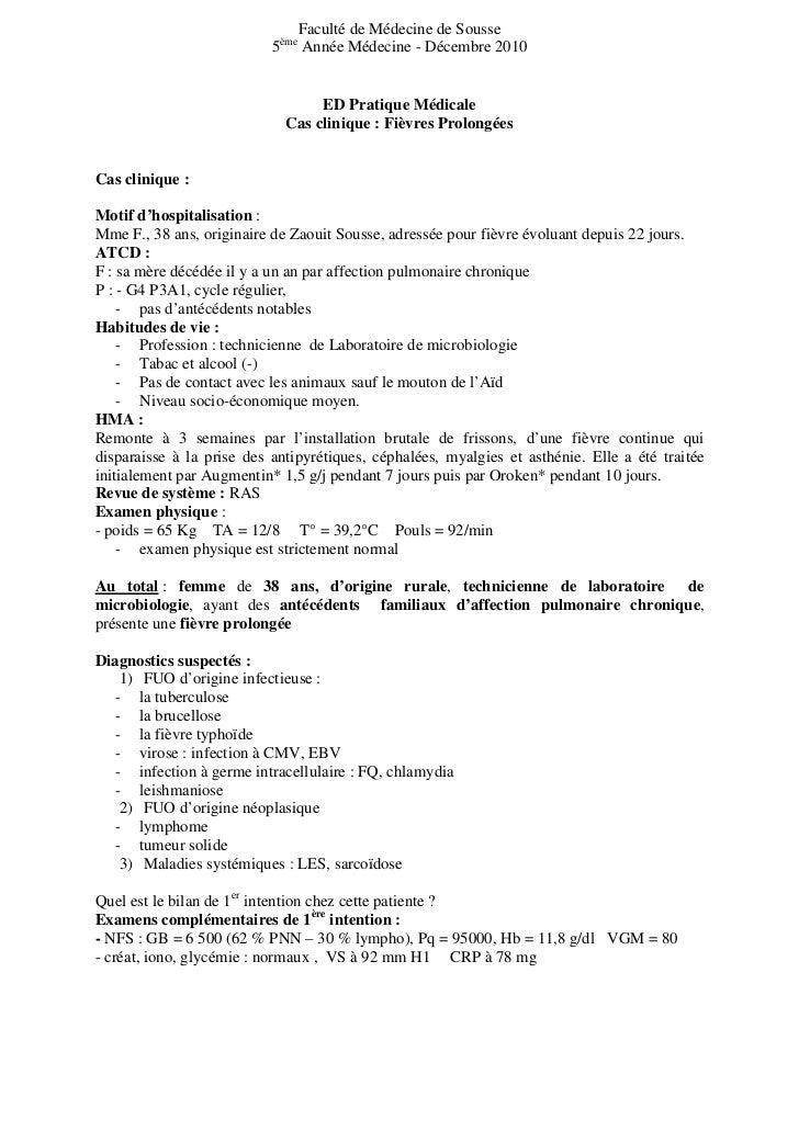 Faculté de Médecine de Sousse                           5ème Année Médecine - Décembre 2010                               ...