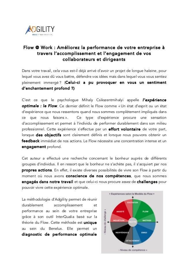 Flow @ Work : Améliorez la performance de votre entreprise à travers l'accomplissement et l'engagement de vos collaborateu...
