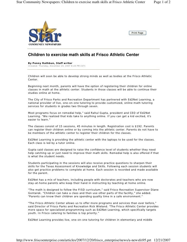 Star Community Newspapers: Children to exercise math skills at Frisco Athletic Center                 Page 1 of 2         ...