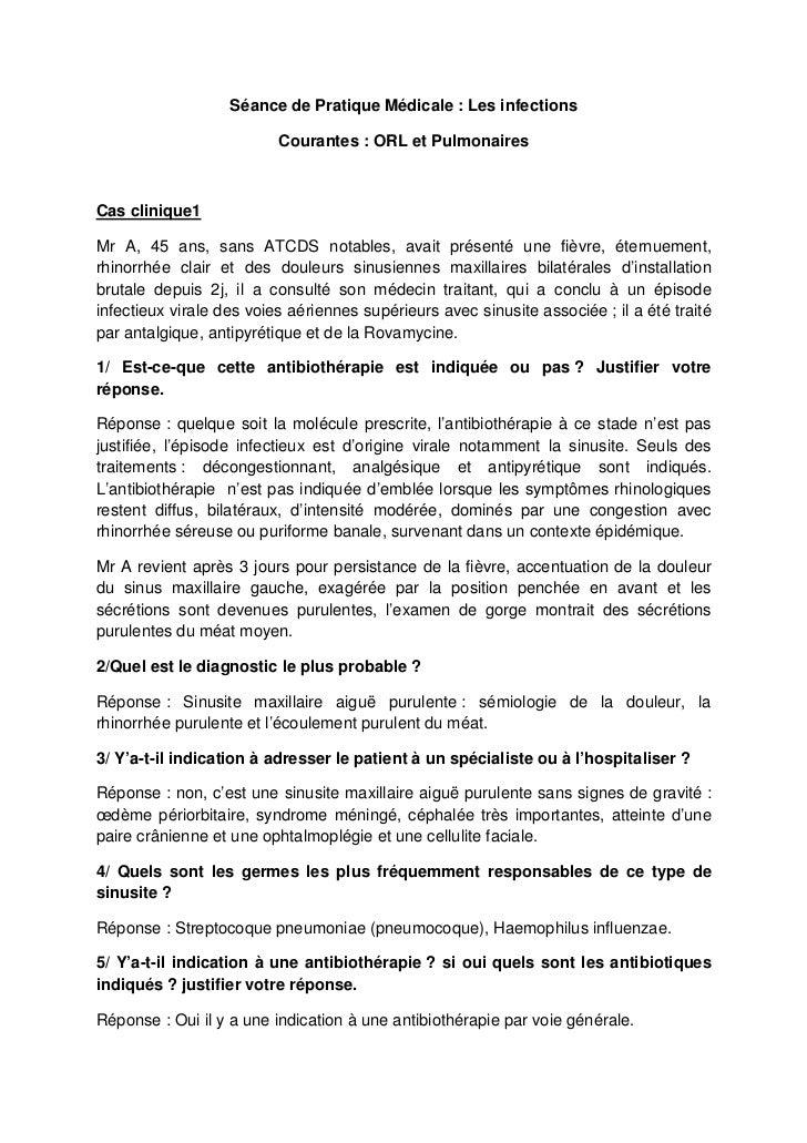 Séance de Pratique Médicale : Les infections                          Courantes : ORL et PulmonairesCas clinique1Mr A, 45 ...