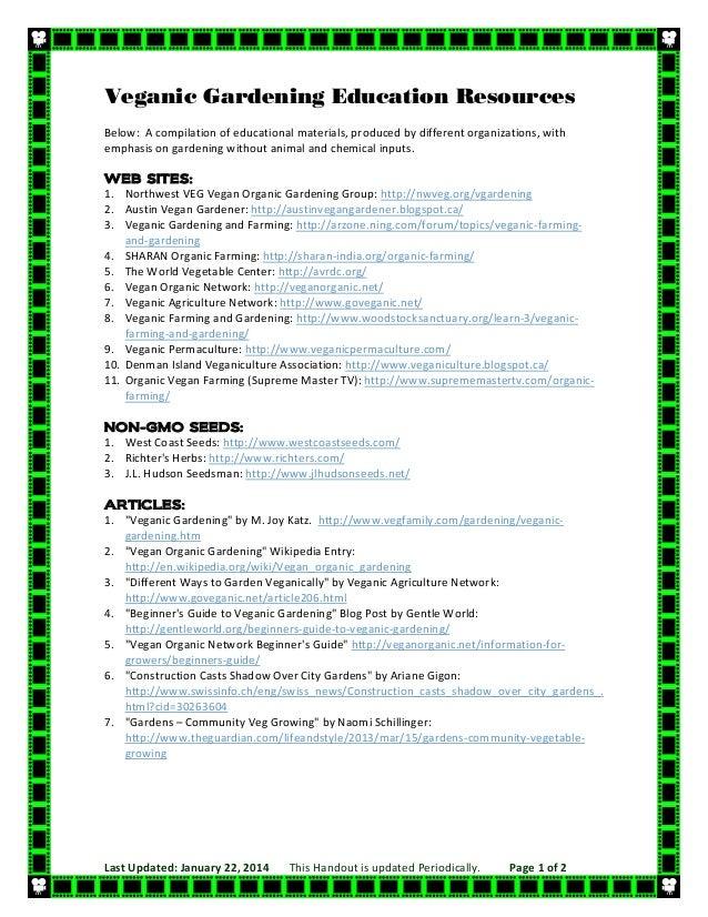 Veganic Gardening Education Resources List