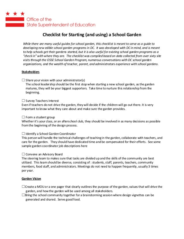 Checklist for Starting (and using) a School Garden