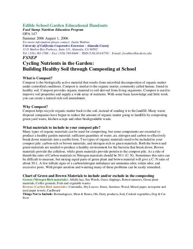 Edible School Garden Educational Handout