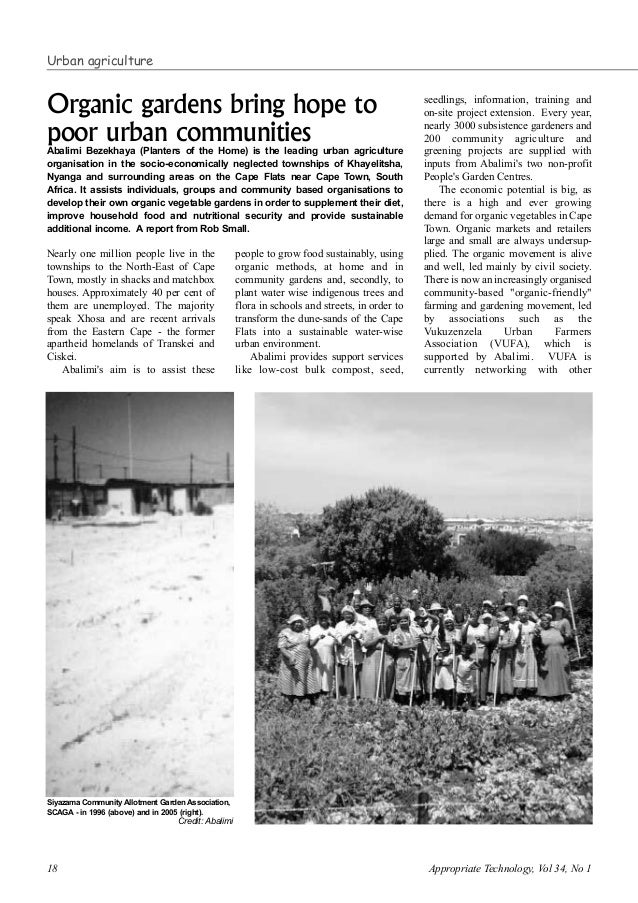18 Appropriate Technology, Vol 34, No 1 Nearly one million people live in the townships to the North-East of Cape Town, mo...
