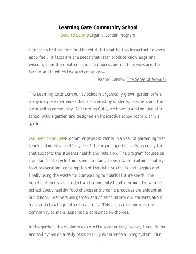 1 Learning Gate Community School Seed to Soup® Organic Garden Program I sincerely believe that for the child…it is not hal...