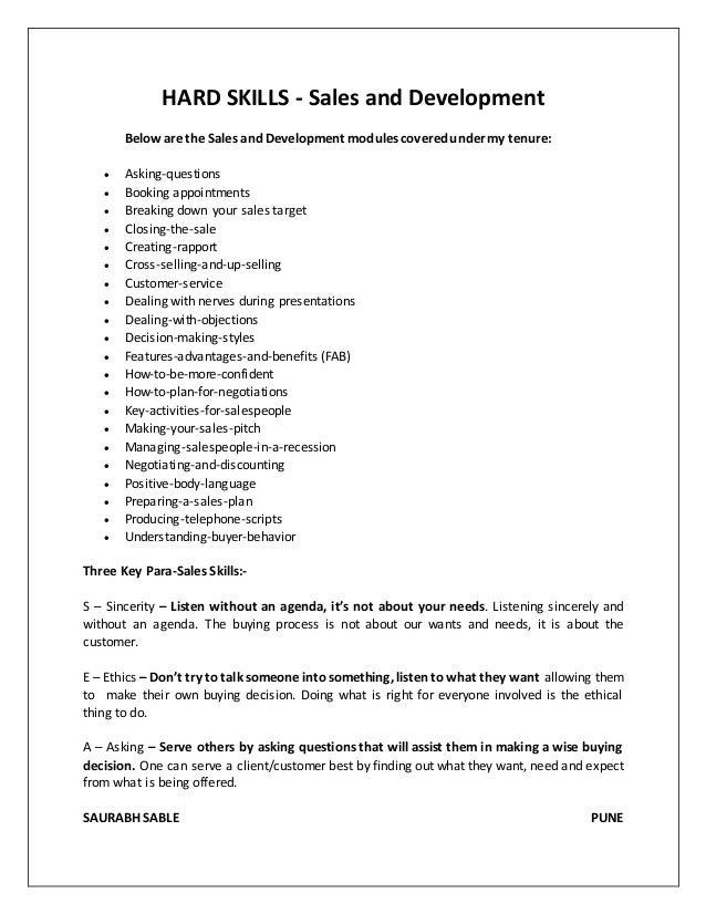 Hard skills examples on a resume
