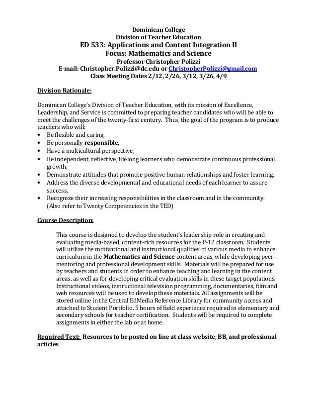 Dominican College Division of Teacher Education ED 533: Applications and Content Integration II Focus: Mathematics and Sci...