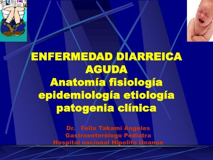 ENFERMEDAD DIARREICA         AGUDA    Anatomía fisiología  epidemiología etiología     patogenia clínica       Dr. Felix T...
