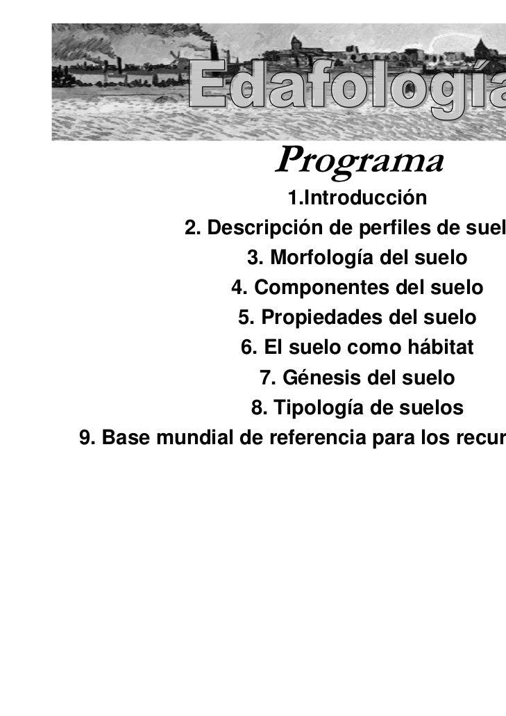 Programa                      1.Introducción          2. Descripción de perfiles de suelos                 3. Morfología d...