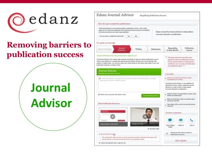 Removing barriers topublication success     Journal     Advisor