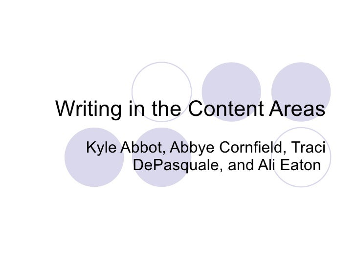 Writing in the Content Areas Kyle Abbot, Abbye Cornfield, Traci DePasquale, and Ali Eaton