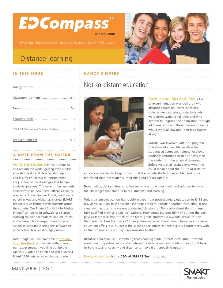 March 2008       NEWS AND RESOURCES FOR EDUCATORS USING SMART PRODUCTS            Distance learning I N T H I S I SS U E  ...