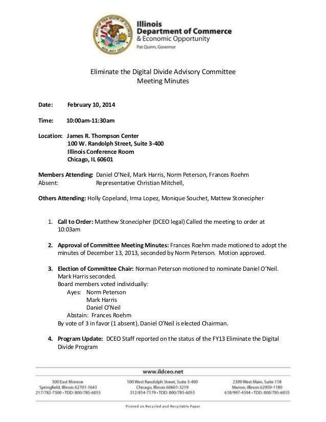 Eliminate the Digital Divide Advisory Committee Meeting Minutes Date: February 10, 2014 Time: 10:00am-11:30am Location: Ja...