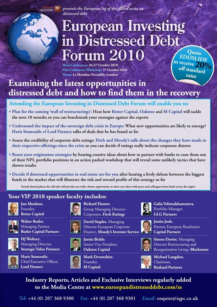 presents the European leg of the global series on                                            distressed debt              ...