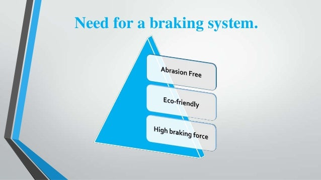 eddy current braking system A study of eddy current braking system is performed to find out the practical limit of using an electromagnetic braking system gurav mahadeo et al.