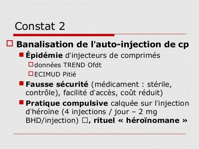 Constat 2 Banalisation de l'auto-injection de cp   Épidémie d'injecteurs de comprimés     données TREND Ofdt     ECIMU...