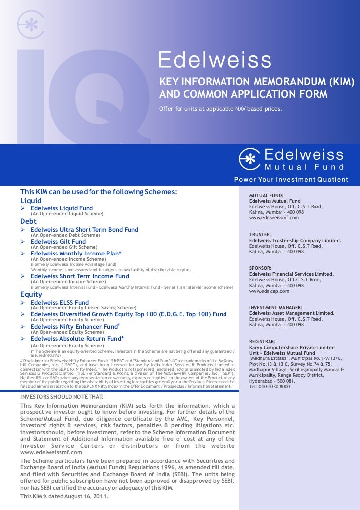 Edelweiss mutual fund common application form with kim