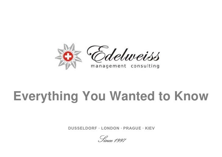 Everything You Wanted to Know          DUSSELDORF · LONDON · PRAGUE · KIEV                     Since 1997