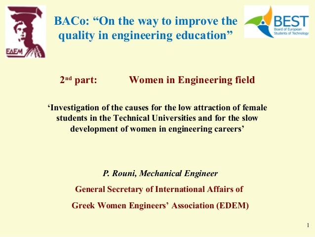 """BACo: """"On the way to improve the  quality in engineering education""""   2nd part:          Women in Engineering field'Invest..."""