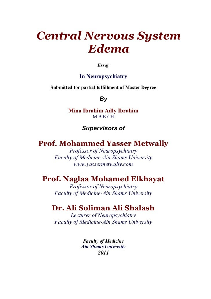 Thesis section: brain edema