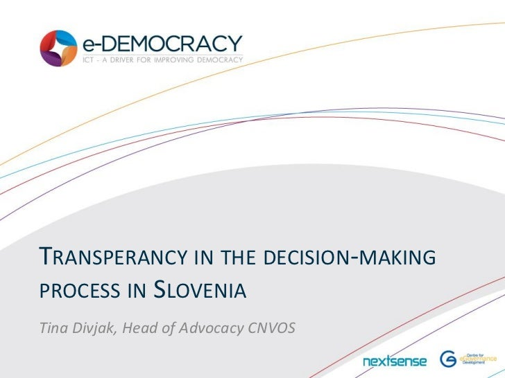 eDemocracy2012 Tina_Divjak_Transparency_in_the_decision-making_process_in_Slovenia