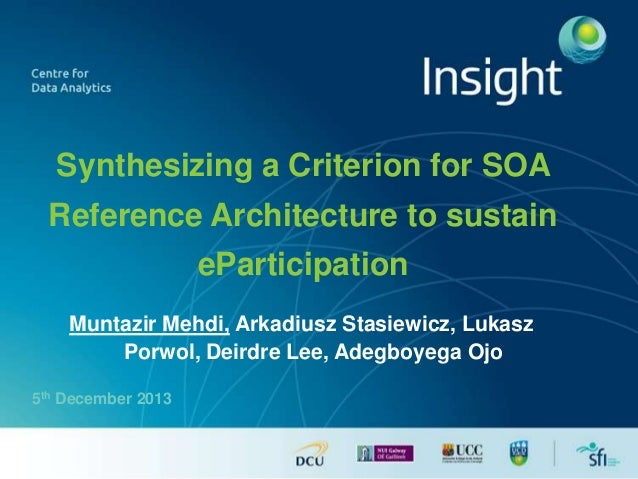 Synthesizing a Criterion for SOA Reference Architecture to sustain  eParticipation Muntazir Mehdi, Arkadiusz Stasiewicz, L...