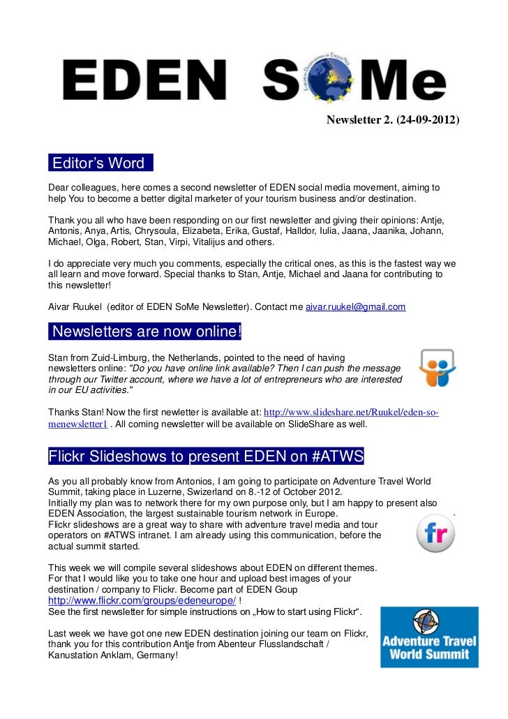 Newsletter 2. (24-09-2012) Editor's Word .Dear colleagues, here comes a second newsletter of EDEN social media movement, a...