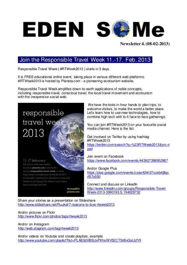Newsletter 4. (08-02-2013) Join the Responsible Travel Week 11.-17. Feb. 2013 .Responsible Travel Week ( #RTWeek2013 ) sta...