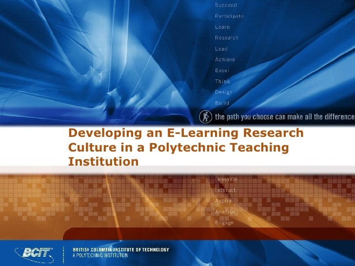 Developing an E-Learning Research Culture in a Polytechnic Teaching Institution