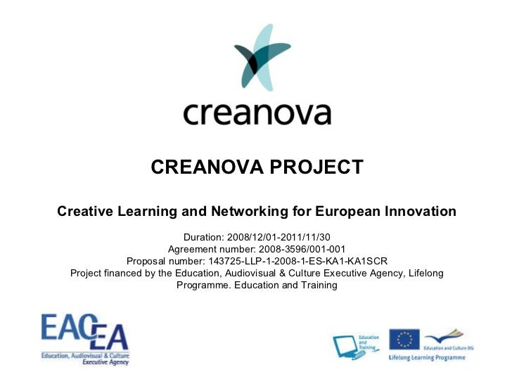 CREANOVA PROJECT Creative Learning and Networking for European Innovation Duration: 2008/12/01-2011/11/30 Agreement number...