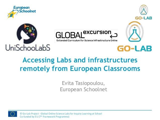 Accessing Labs and infrastructuresremotely from European ClassroomsEvita Tasiopoulou,European Schoolnet© Go-Lab Project - ...